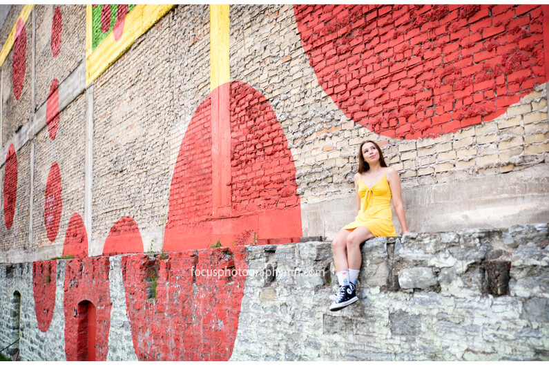 Polka Dot Wall Senior Portraits | Focus Photography by Susan